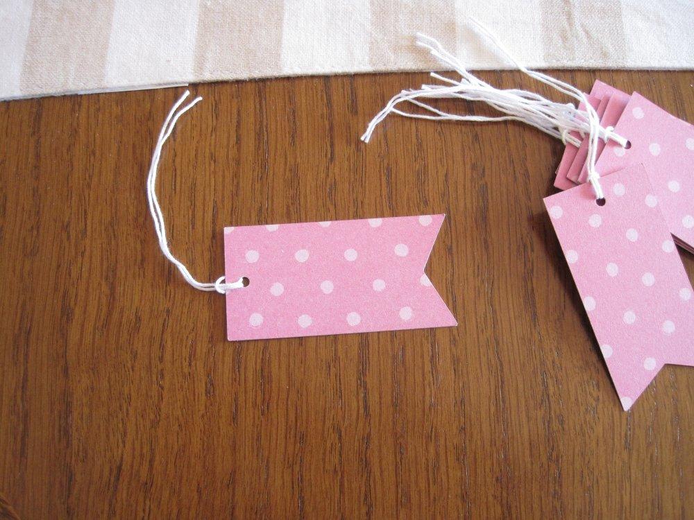 Lot etiquettes a pois, etiquettes rectangle, tags rose