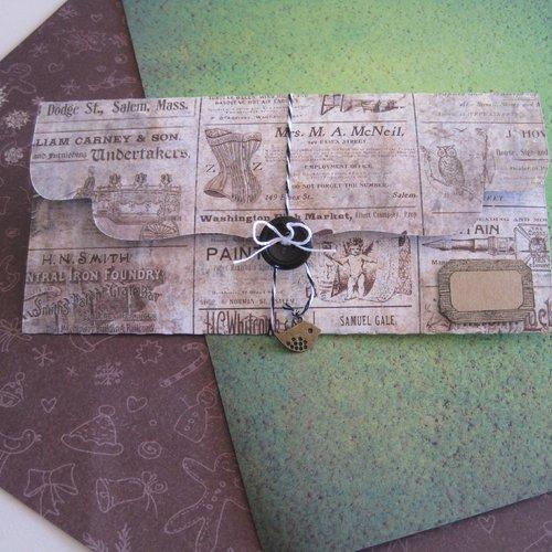 Pochette cadeau, emballage bijou, etiquette kraft, pochette vintage