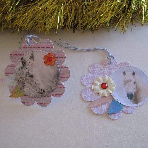 Etiquettes fantaisies, images chevaux, tags chevaux, decorations emballage cadeau