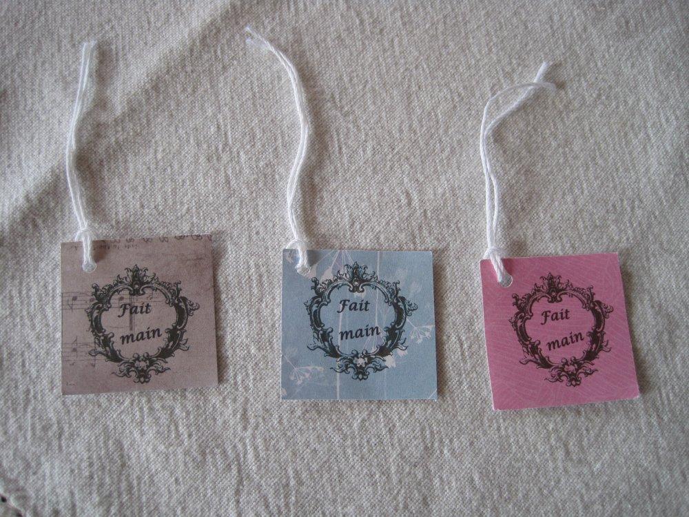 Lot étiquettes fait main, étiquettes prix, tags créations