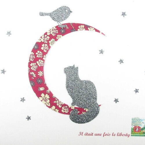 Appliqués thermocollants chat et oiseau au clair de lune tissu liberty lecien cerise et flex pailleté motifs thermocollants liberty écusson