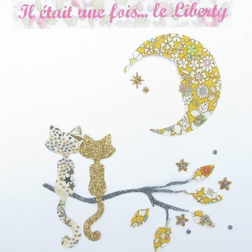 Appliqués thermocollants chats au clair de lune tissu liberty june meadow et flex pailletés patch à repasser motifs chats appliques écusson