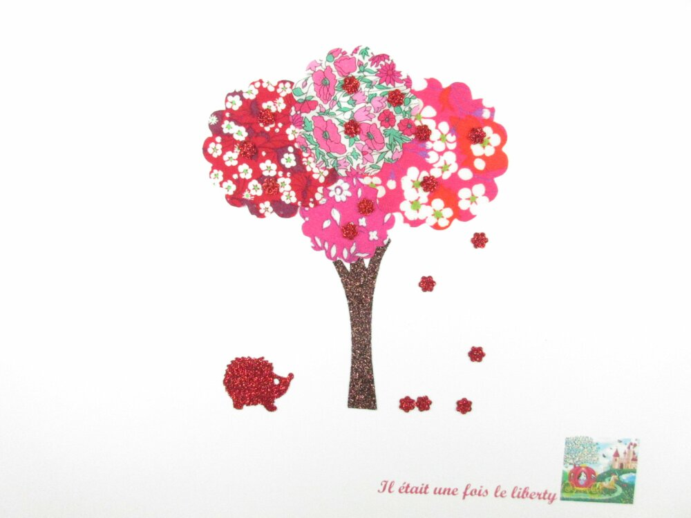 Appliqué thermocollant liberty arbre tissus Mitsi Mitsi valeria Capel Petal and bud roses & rouges + flex pailleté patch à repasser écusson