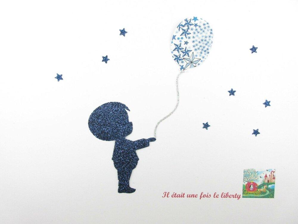 Appliqués thermocollants petit garçon et son ballon en liberty Adelajda bleu et flex pailleté patch à repasser motif garçon thermocollant