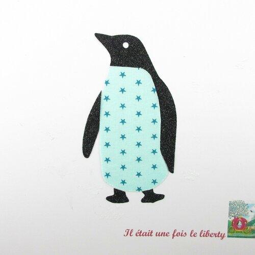 Appliqué thermocollant pingouin tissu bleu turquoise étoilé flex pailleté noir patch à repasser appliques tissus motifs pingouins écussons