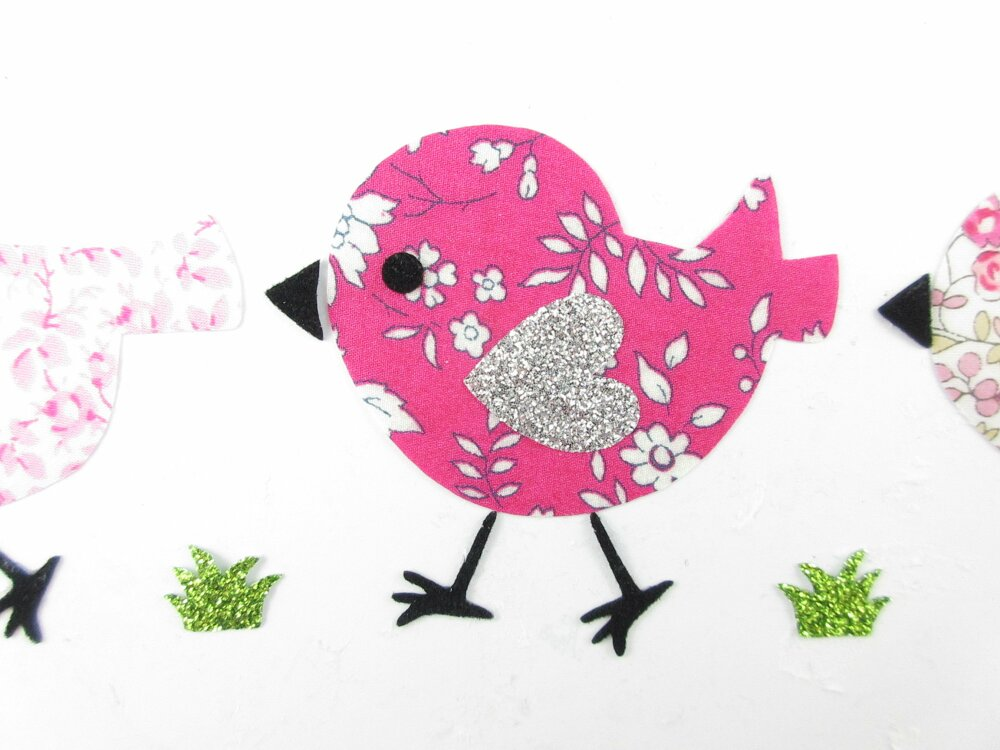 Appliqués thermocollants 3 oiseaux en tissus liberty Capel fuchsia, Eloïse et Mickaël rose et flex pailletés patches iron on liberty birds