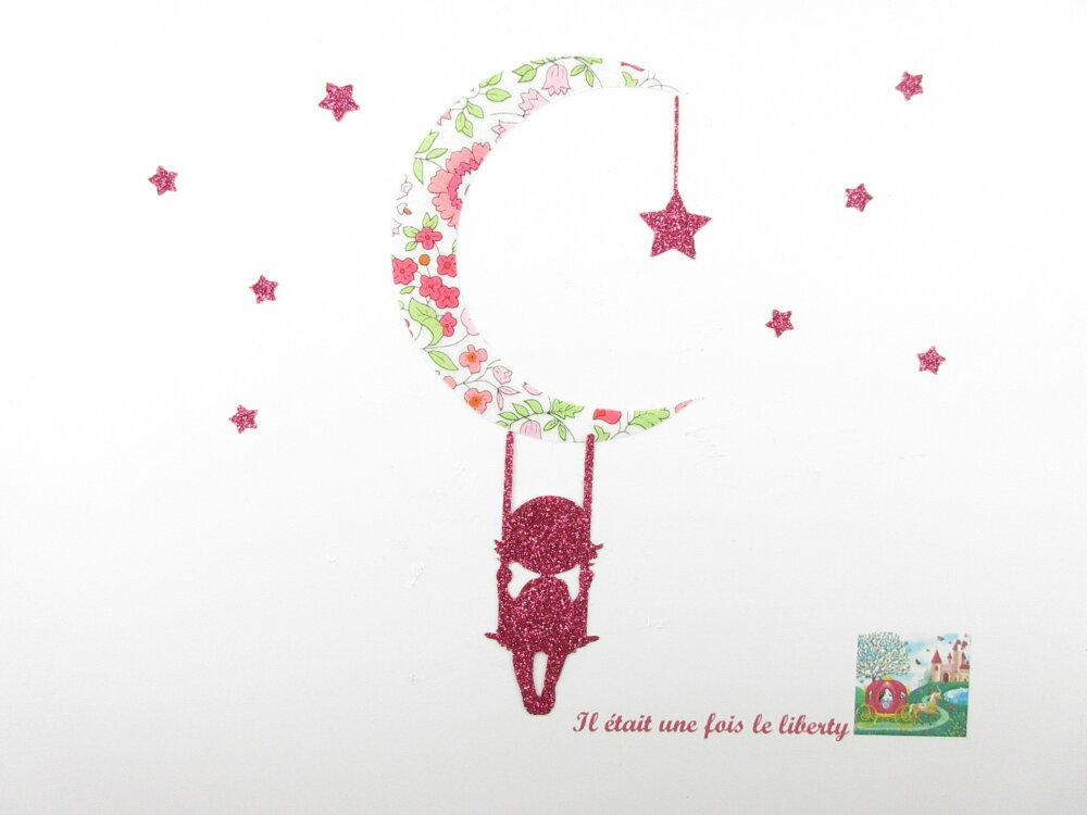 Patch à repasser Appliqué thermocollant fille sur balançoire lune liberty d'Anjo rose flex pailleté appliques liberty motif thermocollant