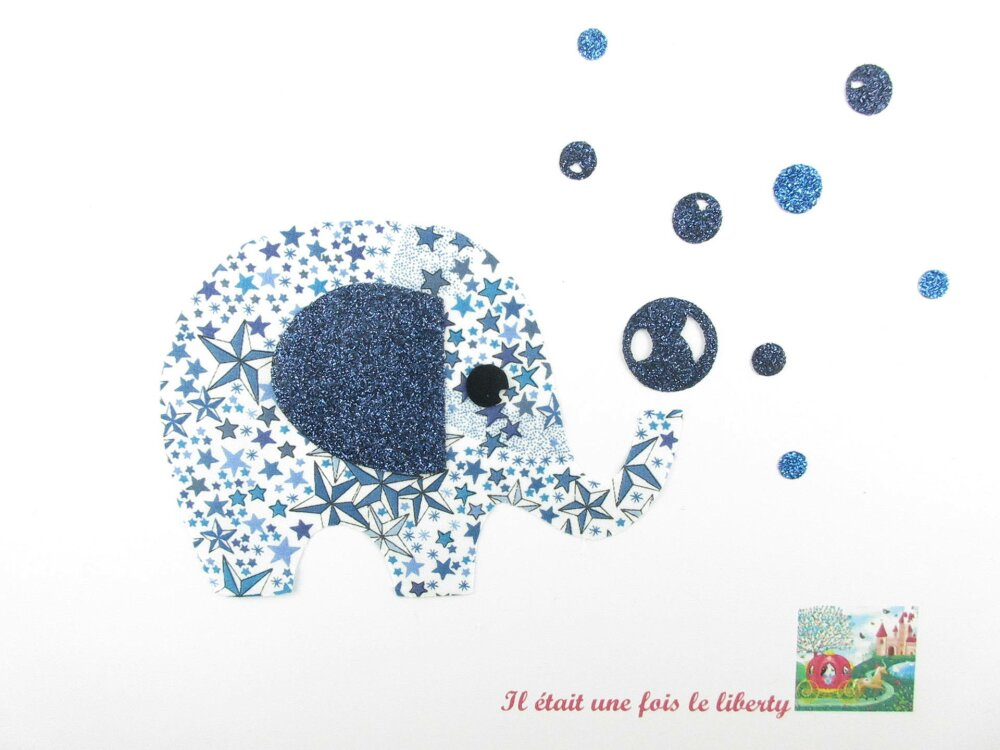 Appliqué thermocollant liberty Elephant tissi Adelajda bleu flex pailleté patch à repasser applique liberty éléphant écussons motif
