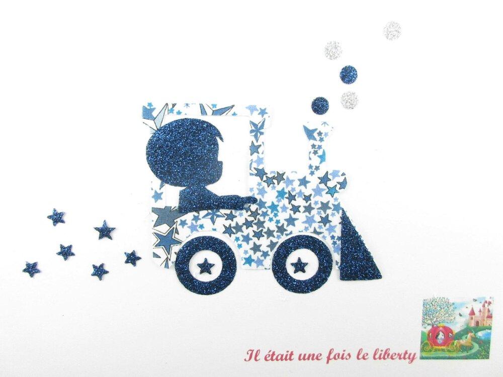 Appliqués thermocollants petit garçon & train liberty Adelajda bleu flex pailleté applique locomotive motif garçon thermocollant liberty