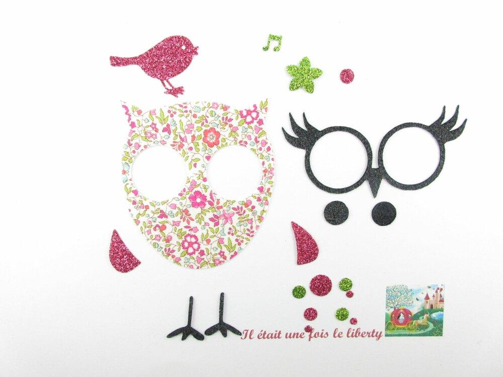 Appliqués thermocollants liberty Chouette et oiseau en tissu Katie& Millie mint + flex pailleté patch à repasser liberty motif thermocollant