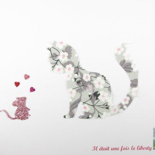 Appliqués thermocollants chat et souris amoureuse en liberty mitsi gris