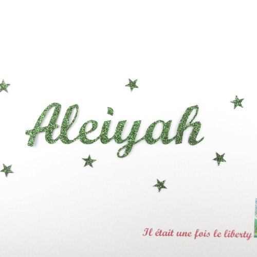 Appliqué thermocollant prénom personnalisable de 7 lettres t.1-2 cm (ex : aleiyah) en tissu pailleté (coloris au choix)