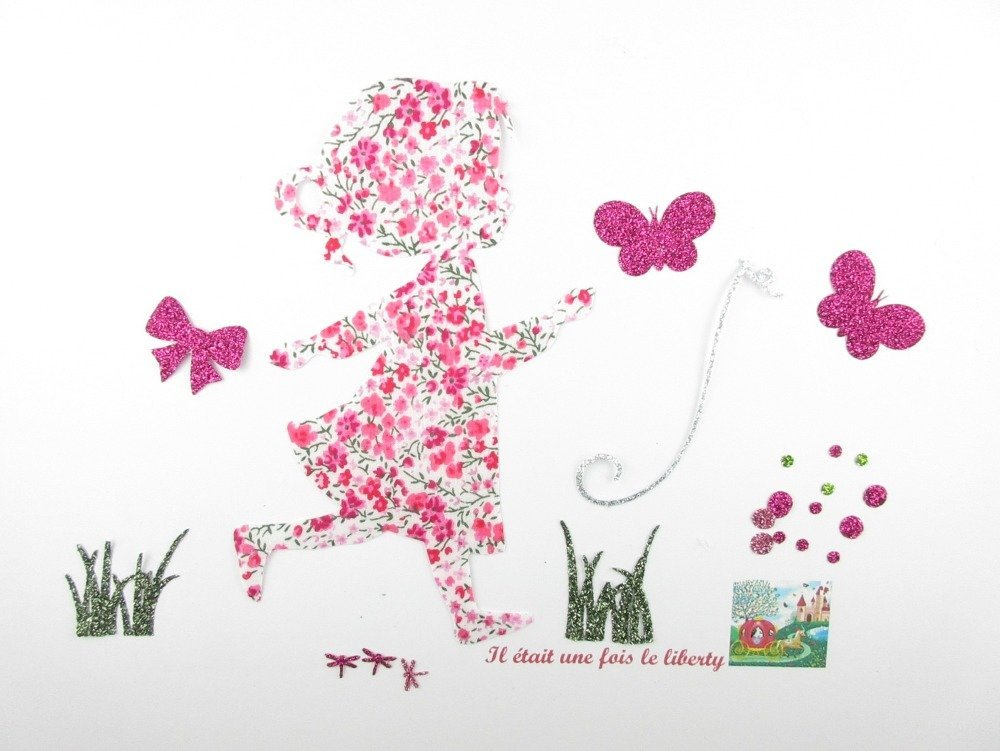 Appliqués thermocollants Arbre à empreintes (Baptême, communion) petite fille qui court en liberty Phoebe rose et flex pailletés.
