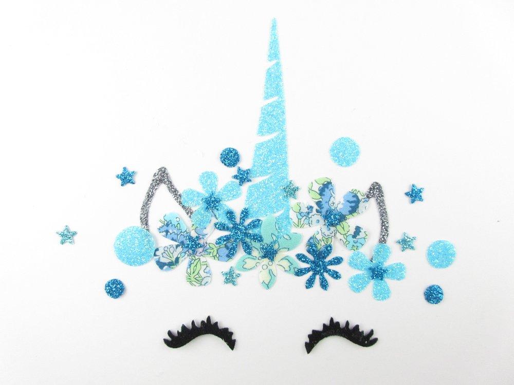 Appliqués thermocollants Licorne en tissus liberty Capel mint Amélie bleu et flex pailleté