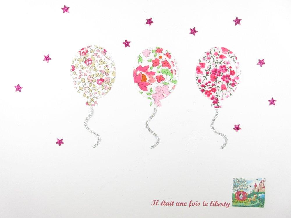 Appliqués thermocollants 3 ballons anniversaire baptême communion en tissus liberty Eloïse, d'Anjo et Phoebe roses patch à repasser