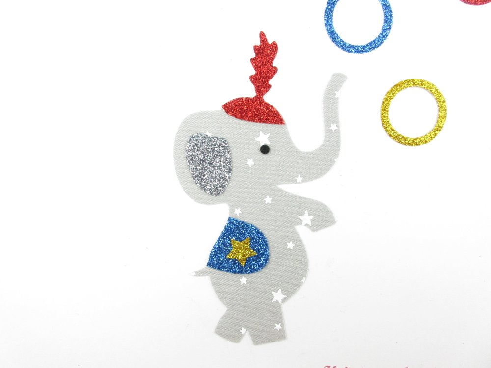 Appliqués thermocollants Eléphant du cirque en tissu liberty gris étoilé et flex pailleté patch