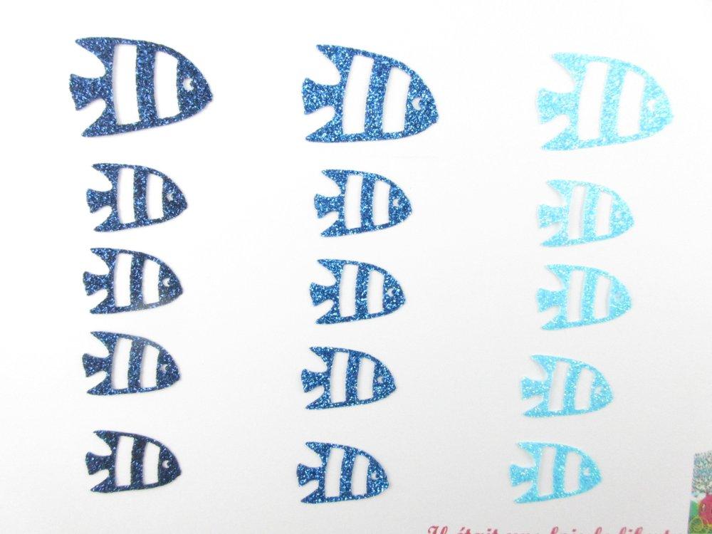 Appliqués thermocollants 15 poissons tropicaux en tissu pailleté bleus (coloris au choix)