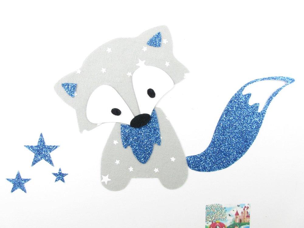 Appliqués thermocollants renard ien tissu gris perle étoilé et flex pailleté bleu