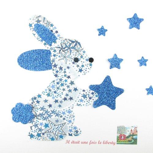 Appliqués thermocollants lapin xl qui tient une  étoile en tissu liberty adelajda bleu et flex pailleté