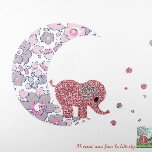 Appliqués thermocollants éléphant sur une lune en tissu liberty bétsy bois de rose et flex pailleté