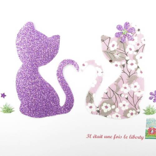 """Appliqués thermocollants chats en liberty  mitsi parme, """"couple de petits chats amoureux""""."""