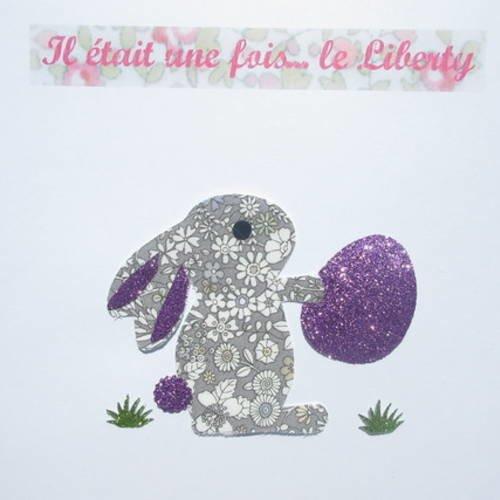 Appliqué Thermocollant Lapin En Tissu Liberty June Meadow Gris Le Petit Lapin De Pâques