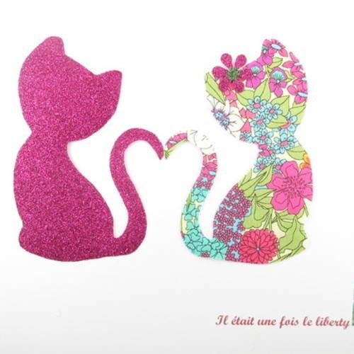 Appliqués thermocollants chats amoureux en liberty chiara fuchsia