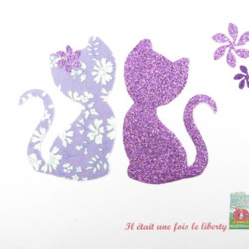 Appliqués thermocollants chats amoureux en liberty capel mauve et flex pailleté mauve.