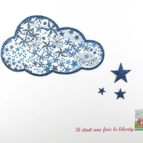 Appliqué thermocollant nuage en liberty adelajda bleu et flex pailleté