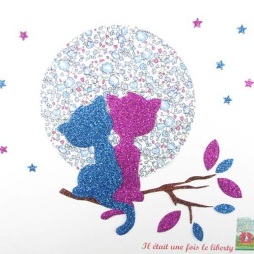 Appliqués thermocollants chats amoureux en liberty eloïse bleu dragée et flex pailletés.
