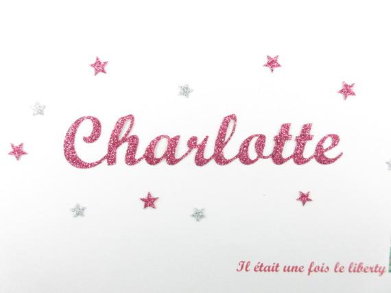 Appliqués thermocollants prénom personnalisable de 9 lettres (exemple proposé Charlotte) en tissu pailleté (couleur au choix)