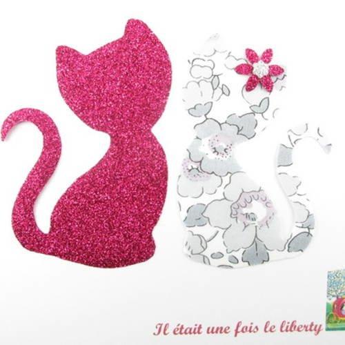 Appliqués thermocollants chats amoureux en liberty betsy platine et flex pailleté fuchsia.