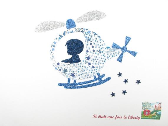 Appliqués thermocollants petit garçon et hélicoptère en liberty Adelajda bleu et flex pailleté.