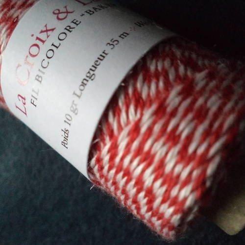 Ficelle baker's twine - bicolore rouge et blanc