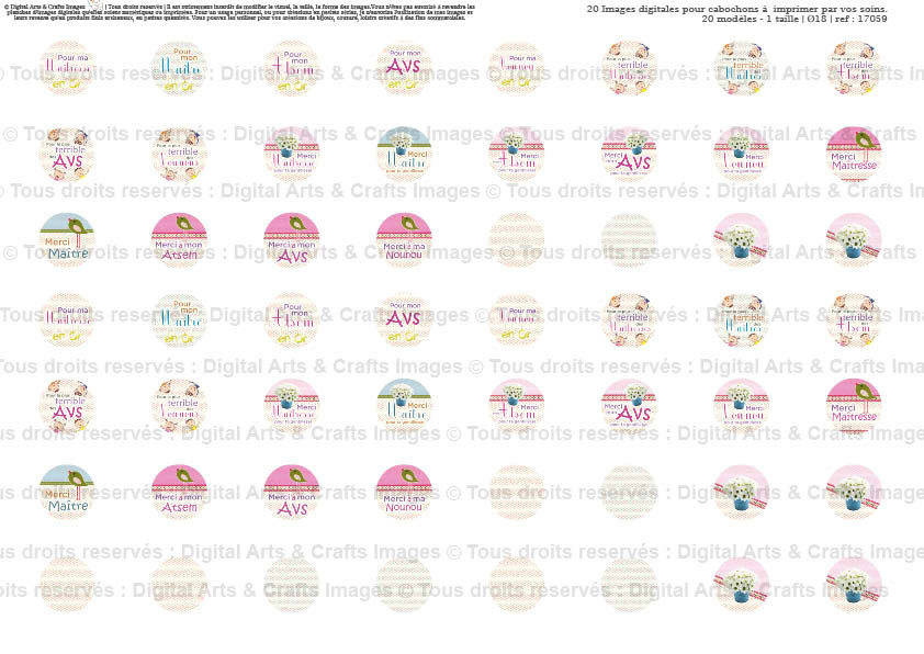 Maîtresse, Maître, Atsem, AVS, Nounou | Ø18 | Planche d'images numériques  pour cabochon  | 16012-18