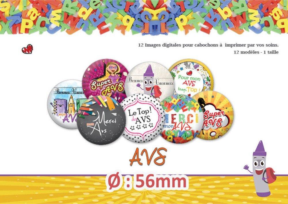 AVS |  Ø56mm | 12 modèles | Planche d'images pour cabochon pour vos bijoux | 18005-56
