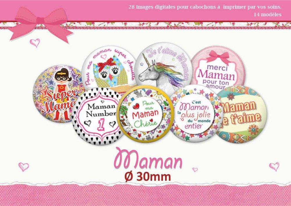 Maman Ø 30 mm | 28 images digitales  | Planche d'images numériques pour cabochon | 17033-30