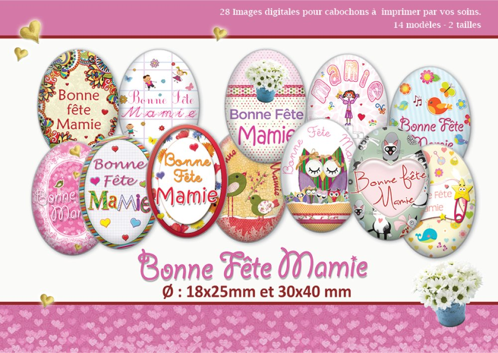 Bonne fête Mamie | Ø 18x25 et 30x40 mm | 28 images digitales  Planche d'images pour cabochon | 17016-18x25-30x40