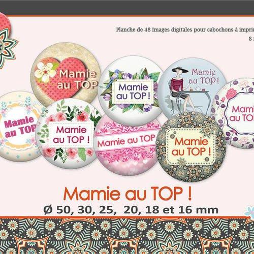 Mamie au top ! | ø 50, 30, 25, 20, 18, 16mm | 48 images digitales  | planche d'images numériques pour cabochon | 17026