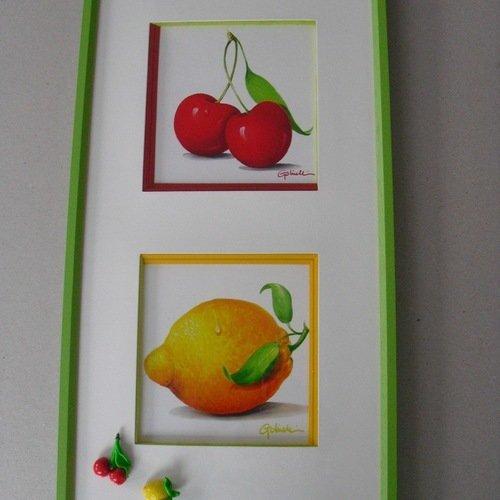 Cadre Murale Citron Et Cerises Pour Cuisine Un Grand Marche