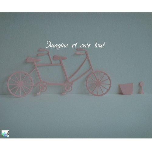 Découpe vélo, tandem, embellissement, scrapbooking, déco, découpe en papier dessin rose pâle