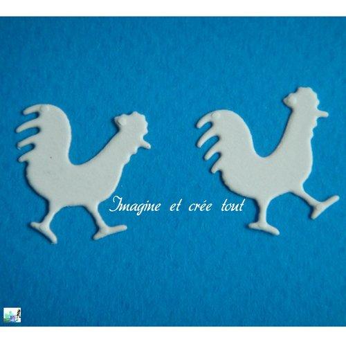 Lot de 2 coqs, poule, poulailler, basse cour, volaille, scrapbboking, embellissement, déco, découpe en papier dessin