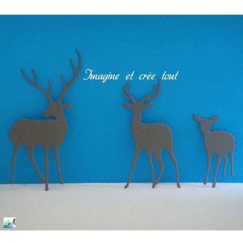 Découpes cerfs, animaux sauvages, fôret, scrapbooking, embellissement, déco,découpe en papier dessin