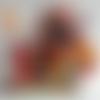 Tête de poupée porte crayon, stylo, feutre, en tissu madras (vendu sans le feutre)