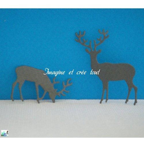 Lot de 2 cerfs, animaux sauvages, fôret, embellissement, scrapbooking, déco, découpe en papier dessin