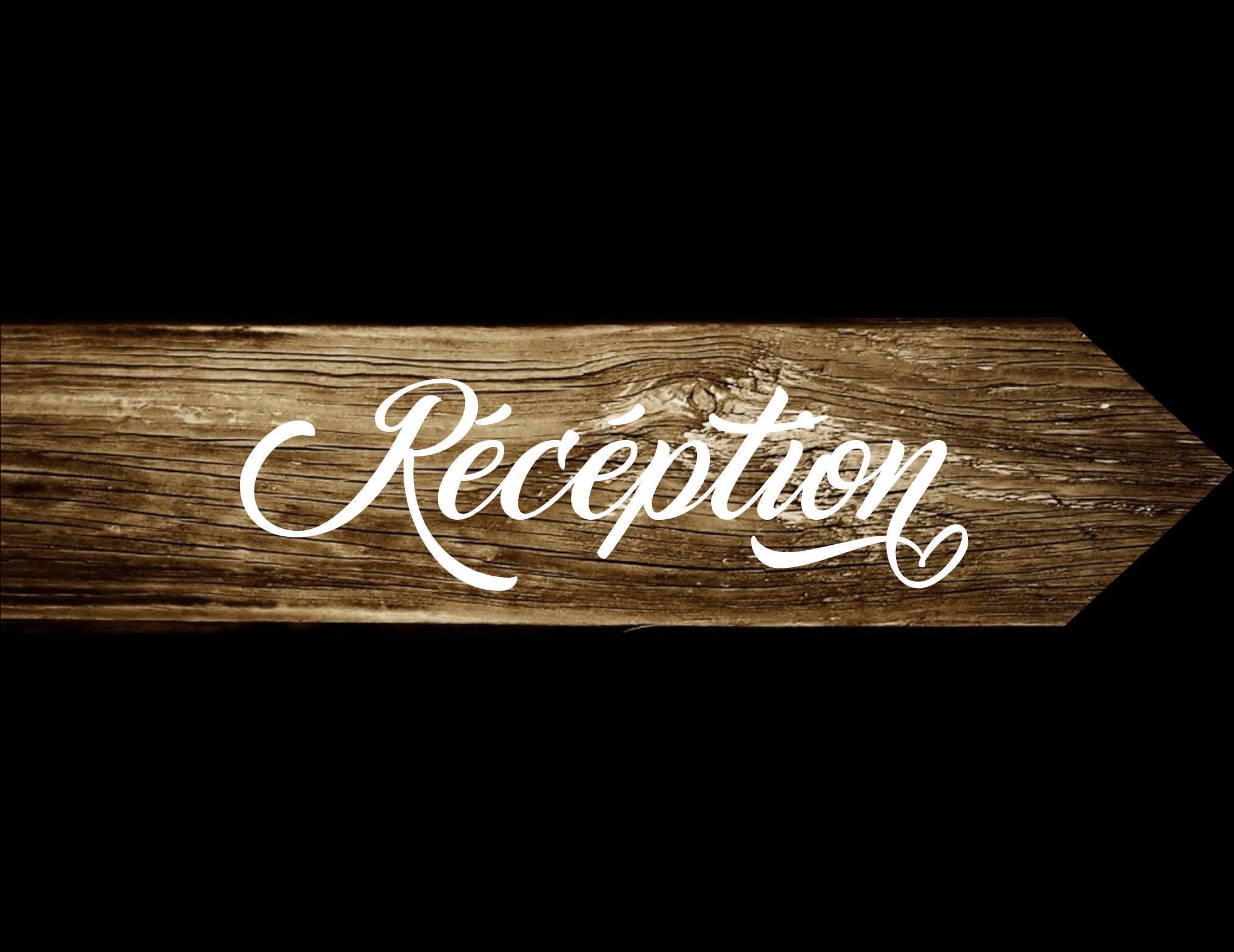 Pancarte Réception, panneau directionnel en bois, pancarte flèche, peint à la main