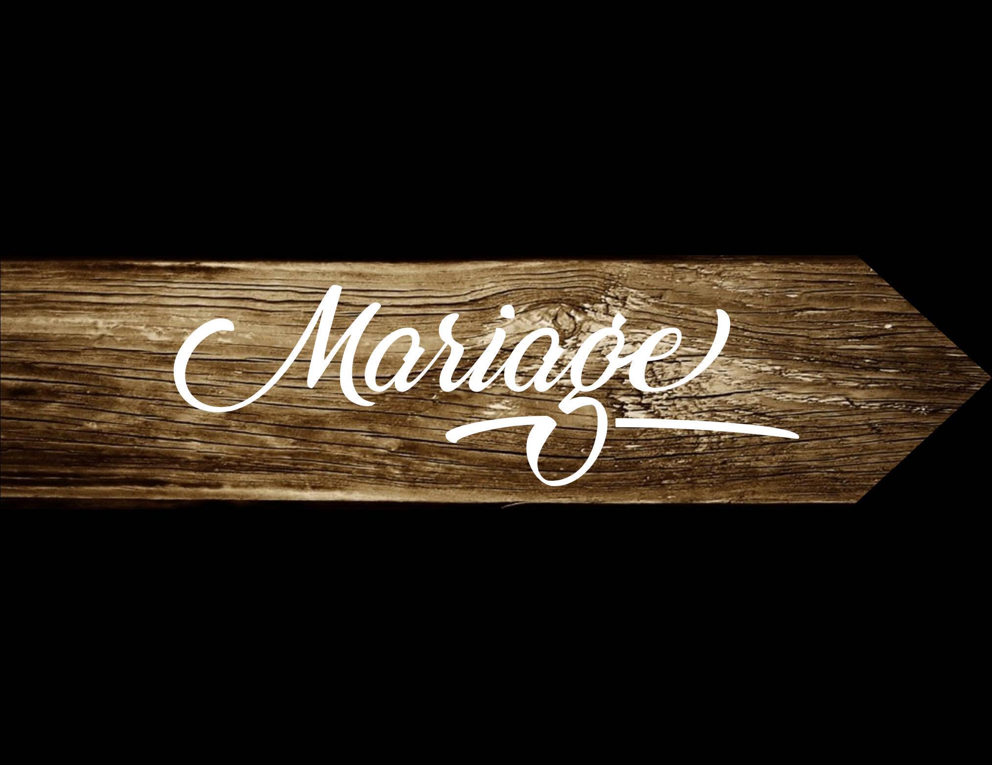 Pancarte Mariage, panneau directionnel en bois, pancarte flèche, peint à la main
