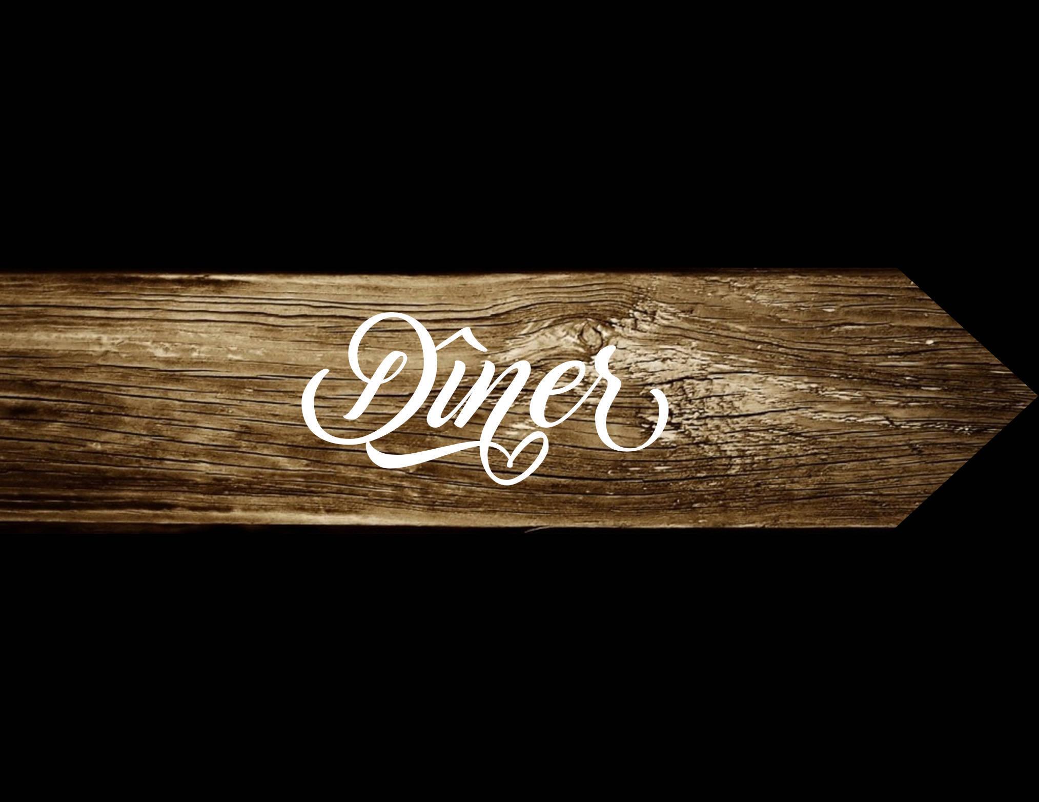 Pancarte Diner, panneau directionnel en bois, pancarte flèche, peint à la main