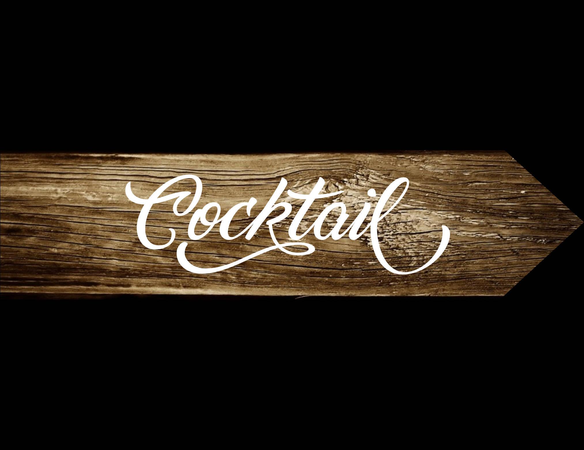 Pancarte Cocktail, panneau directionnel en bois, pancarte flèche, peint à la main