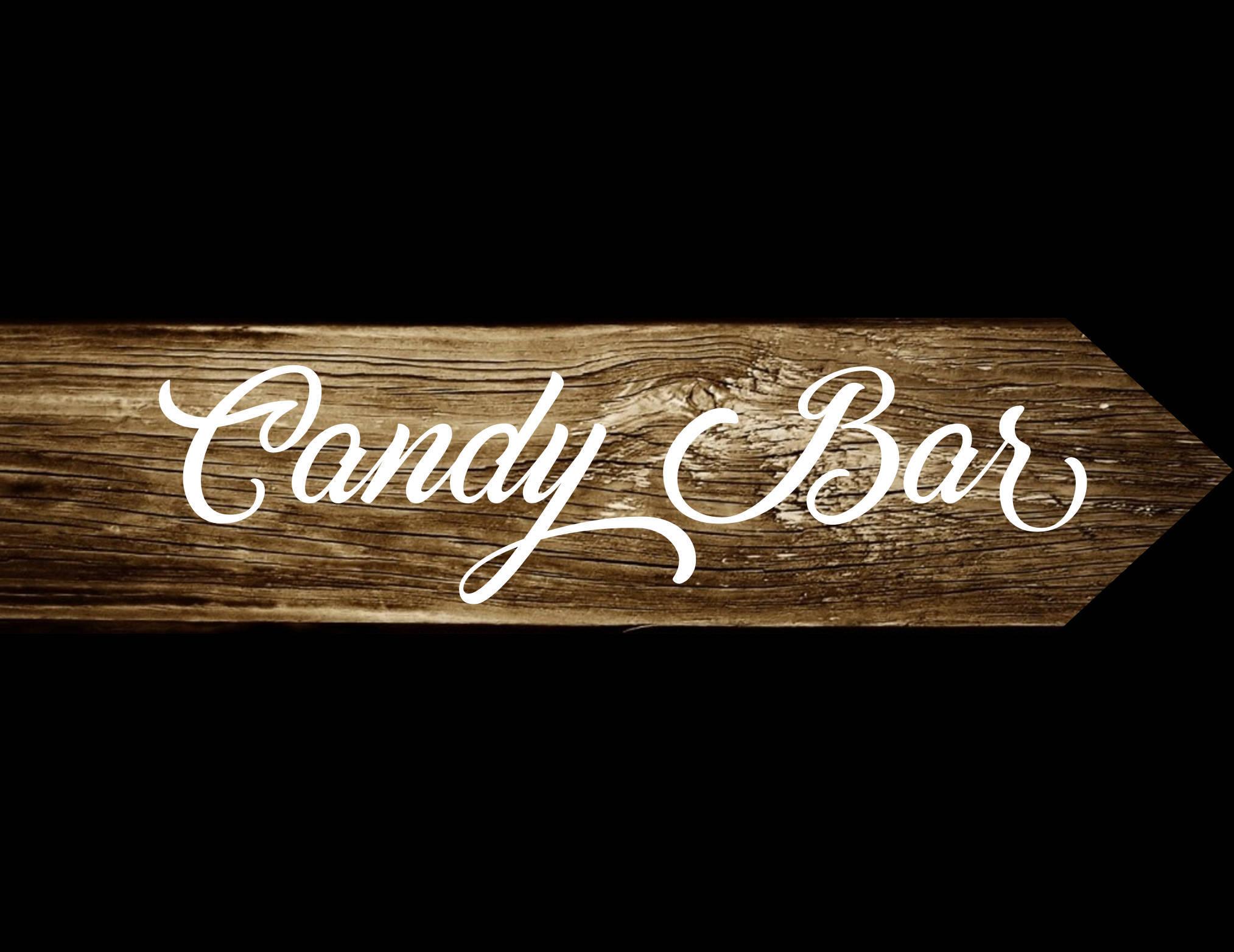 Pancarte Candy Bar, panneau directionnel bois de palette, signalétique mariage et fete, panneau bois, peint à la main
